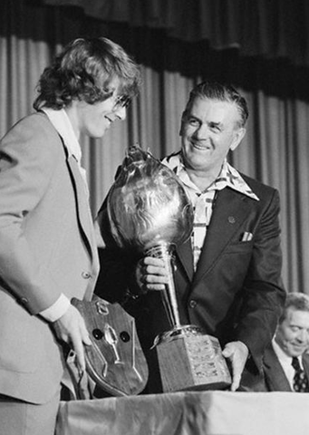 Rocket Richard Hands The Hart Trophy to Bobby Clarke in 1973