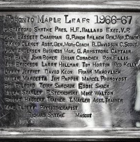 Toronto Maple Leafs Stanley Cup Engraving / Stamping 1967