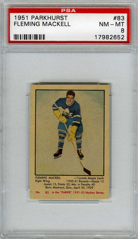 Fleming Mackell Hockey Card - 1951 Parkhurst No. 83 - PSA 8