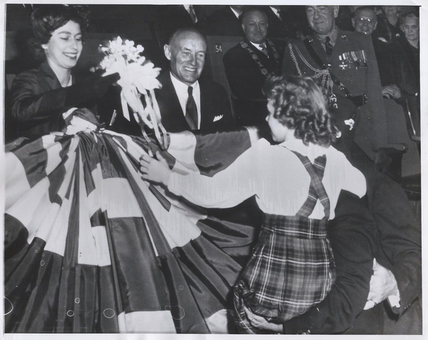 Princess Elizabeth & Conn Smythe at Maple Leaf Gardens 1951