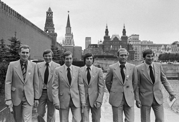 Soviet Ice Hockey Players in Matching Suits - 1970s