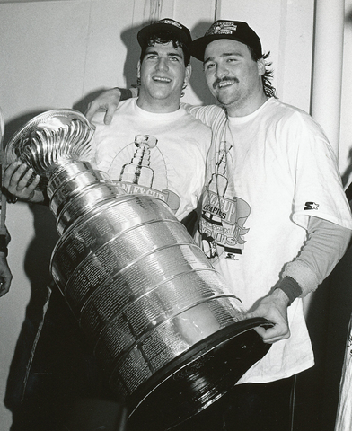 Mark Recchi & Frank Pietrangelo Holding The Stanley Cup 1991