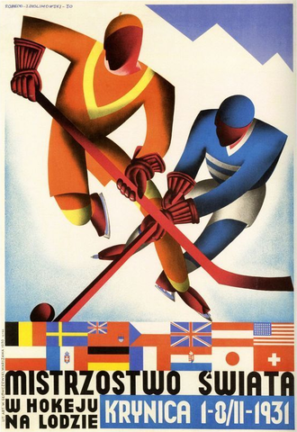 1931 World Ice Hockey Championships Poster in Krynica, Poland