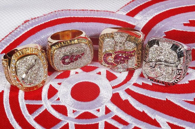 Detroit Red Wings Stanley Cup Rings from 1997, 1998, 2002 & 2008