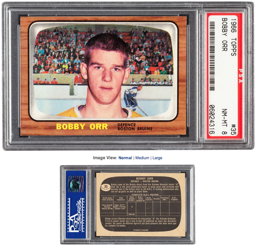 Bobby Orr Rookie Card - 1966 Topps #35 - Graded PSA NM-MT 8