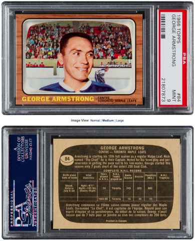 George Armstrong Hockey Card - 1966 Topps #84 Graded PSA Mint 9