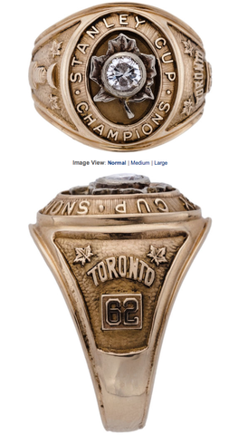 Toronto Maple Leafs Stanley Cup Championship Ring 1962