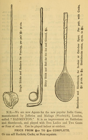Shinny Stick from Peck & Snyder's Encyclopadia & Price List 1873