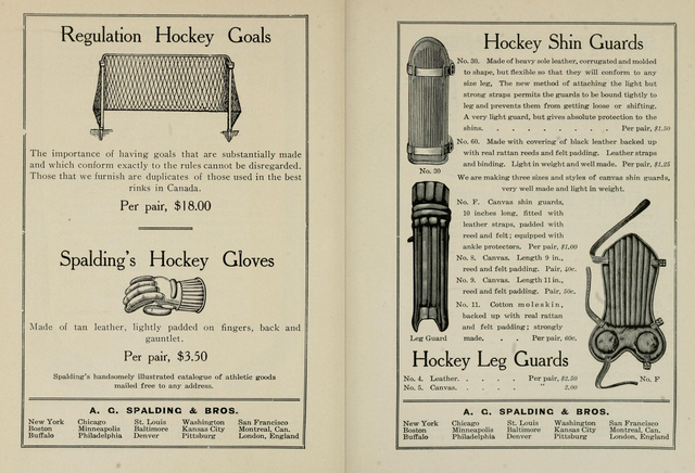 Antique Spalding's Hockey Gloves, Shin Guards & Leg Guards 1904