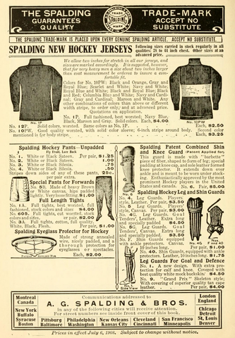 Spalding Hockey Jerseys, Leg & Shin Guards, Pants and Mask 1908
