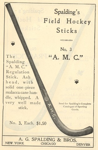 Spalding Field Hockey Stick - Model A.M.C. 1902