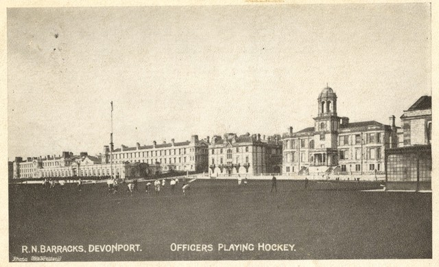 Royal Navy Barracks at Devonport - Officers Playing Hockey 1910