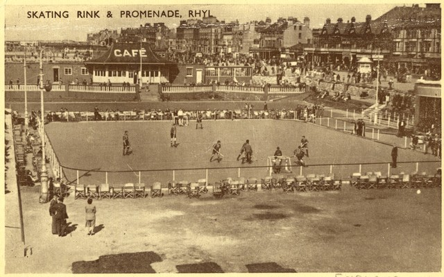 Rink Hockey / Roller Hockey Game at Rhyl Skating Rink 1930s