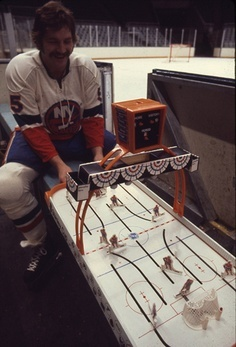 New York Islanders Legend Denis Potvin playing Table Hockey 1975