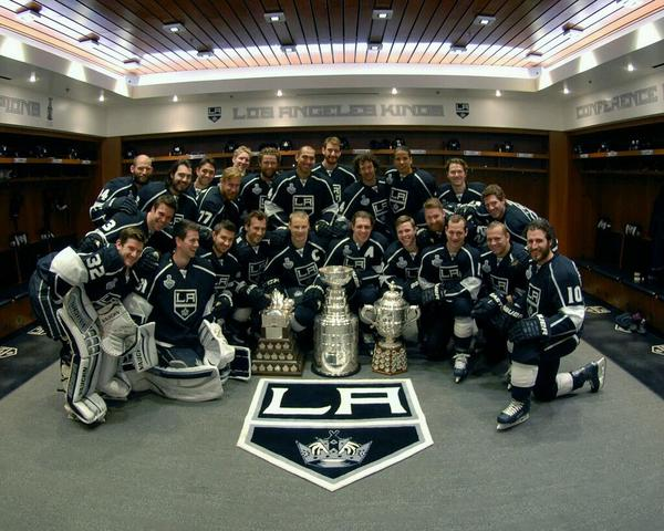 LA Kings with Stanley Cup, Conn Smythe & Clarence Campbell Bowl