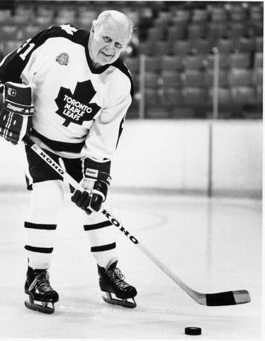 Harold Ballard on ice Wearing Toronto Maple Leafs Uniform 1984