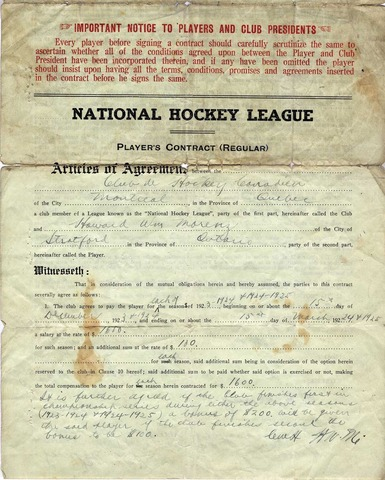 Hockey Contract 1923 Howie Morenz & Montreal Canadians -2