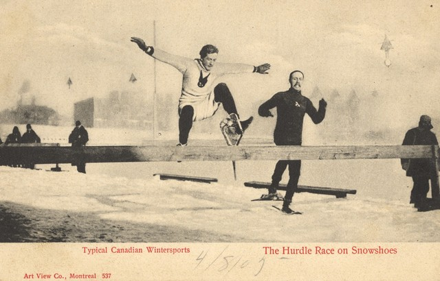 The Hurdle Race Race on Snowshoes MAAA Grounds in Montreal 1904