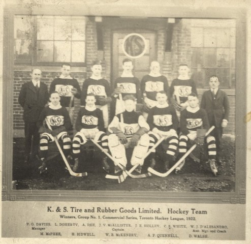 K & S Tire and Rubber Goods Limited Ice Hockey Team Toronto 1922