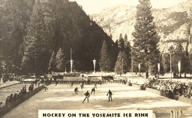 Hockey Game at Yosemite Ice Rink / Curry Village Ice Rink 1950s