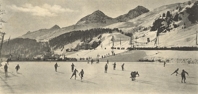 Bandy game at Samaden / Samedan, Switzerland  - circa 1920
