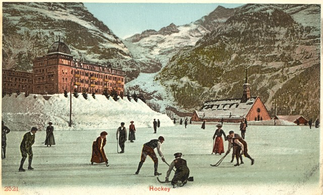 Ladies & Men Bandy Game - Grindelwald, Switzerland - circa 1912