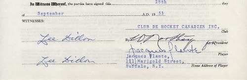 Jacques Plante Autograph on Players Contract - 1953