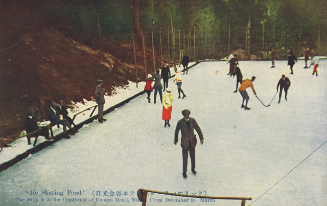 Ice Hockey at the Nikkō Kanaya Hotel Ice Skating Pond circa 1910