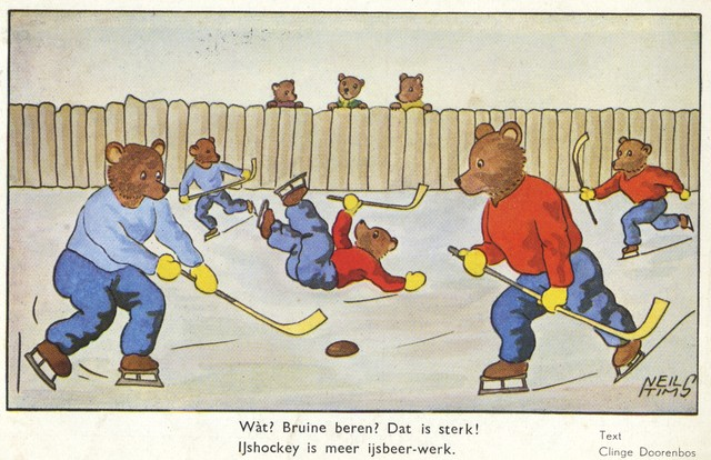 Bears Playing Ice Hockey Antique Postcard 1941 Netherlands