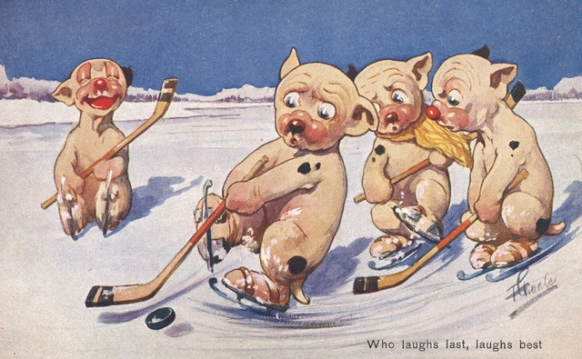 Who Laughs Last, Laughs best - Bears Playing Ice Hockey Postcard