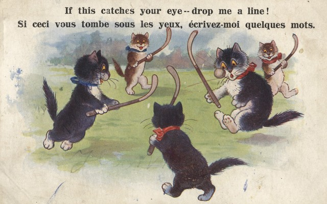 Cats Playing Field Hockey Antique Postcard 1925 England