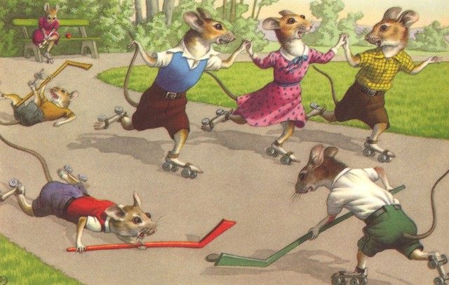 Mice Playing Roller Hockey by Alfred Mainzer 1970s