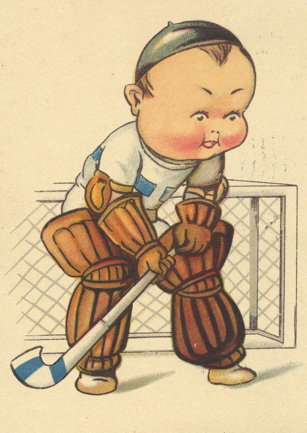 Cartoon Field Hockey Goalie 1934 Danmark Hockeygods