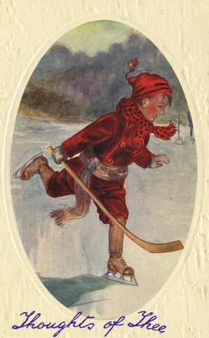 Antique Christmas Hockey Card - 1913 Thoughts of Thee
