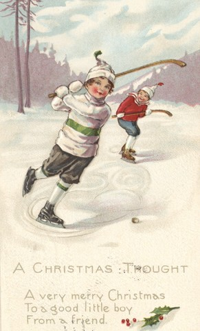 Antique Christmas Hockey Card - 1916 A Christmas Thought