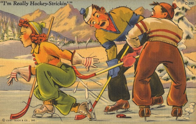 I'm Really Hockey-Strickin - Vintage Hockey Postcard circa 1942