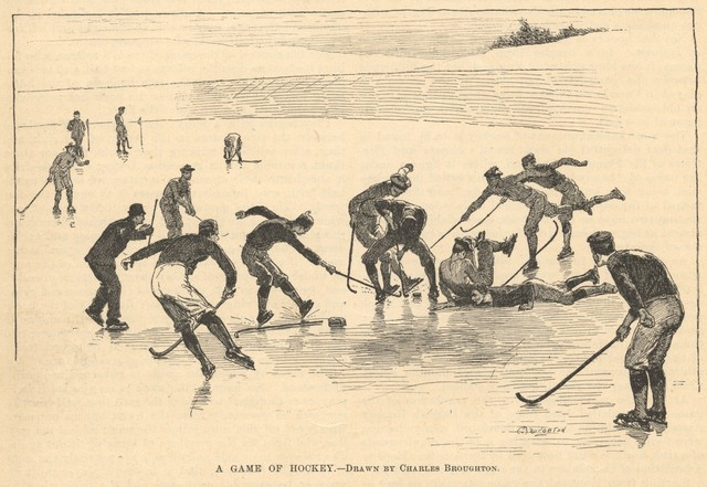 A Game of Hockey - Drawn by Charles Broughton 1891
