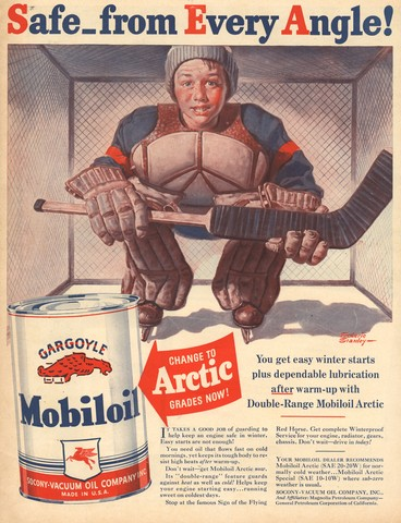 Vintage Goalie - Safe from Every Angle - Mobiloil Arctic Ad 1940