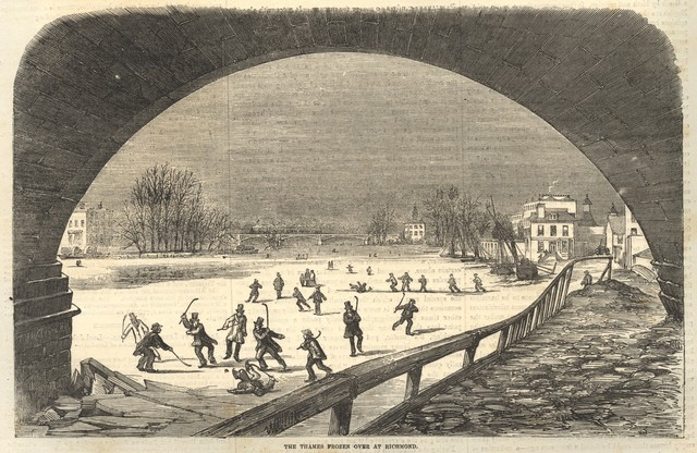 Ice Hockey on River Thames 1855 - View from Richmond Bridge