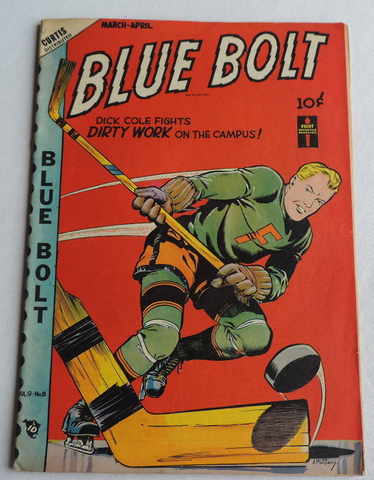 Blue Bolt Comic - Dick Cole Plays Hockey 1949