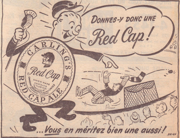 Beer Hockey - Carling's Red Cap Ale Ad 1950