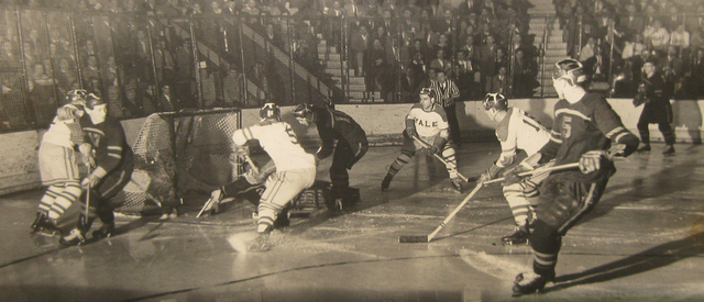 Yale Bulldogs Hockey Game Action - Early 1950s - Leather Helmets