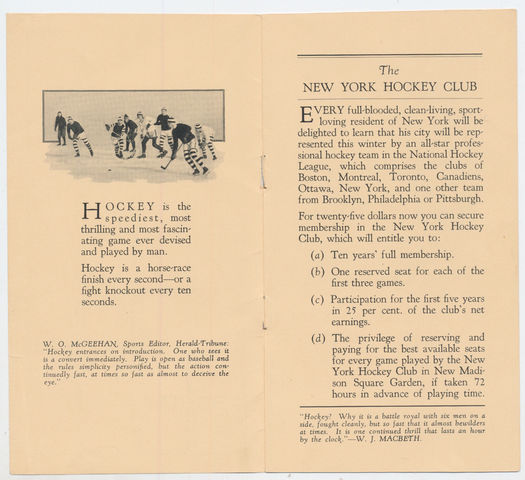 New York Americans Membership Brochure 1925