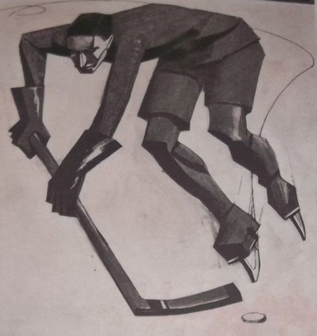 Antique Ice Hockey Artwork by Mario Sironi - 1924
