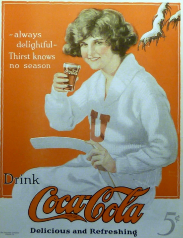 Antique Coca Cola Ad for Women's Ice Hockey - 1923