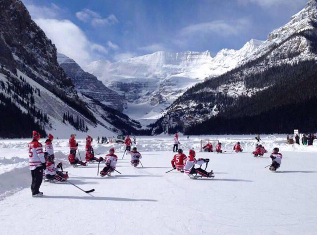 Hockey Canada Sledge Hockey Players at Lake Louise, Alberta 2014
