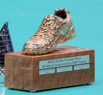 Golden Floorball Shoe MVP Trophy - 2014 Winner : Kim Nilsson