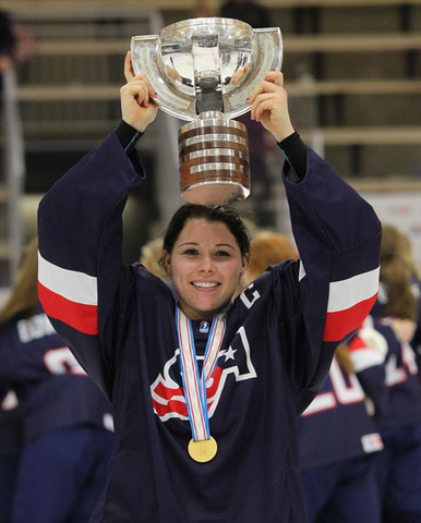 Jincy Dunne Holds 2015 IIHF Women's U18 World Ice Hockey Trophy