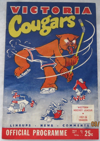 Victoria Cougars Program Cover 1957