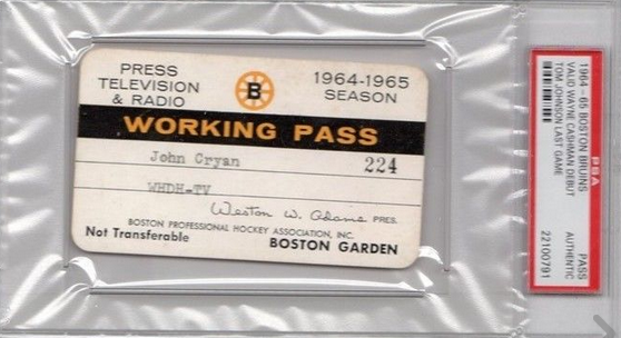 Vintage Media Pass for Boston Bruins 1964-1965